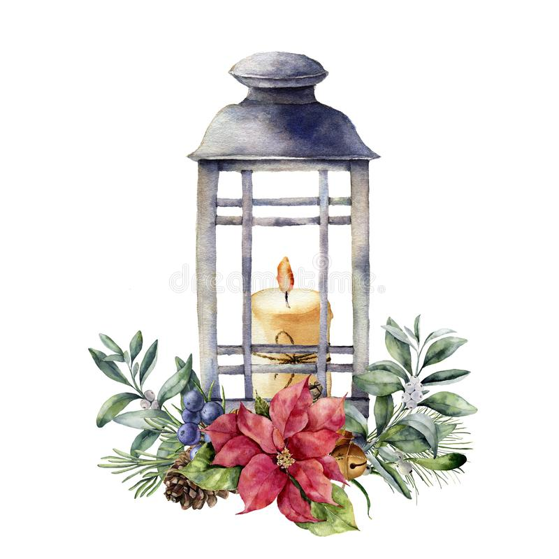 Watercolor Christmas lantern with candle and holiday decor. Hand painted floral composition with holly, mistletoe. Poinsettia, fir branch, bells, juniper royalty free illustration
