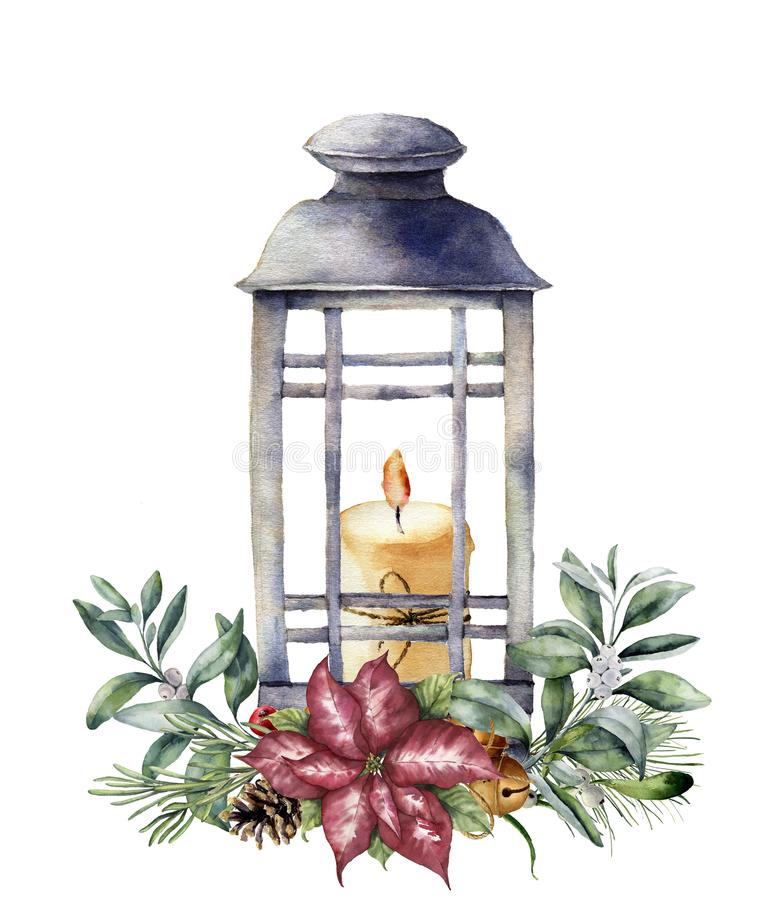 Watercolor Christmas lantern with candle and holiday decor. Hand painted traditional lantern with christmas plant stock illustration