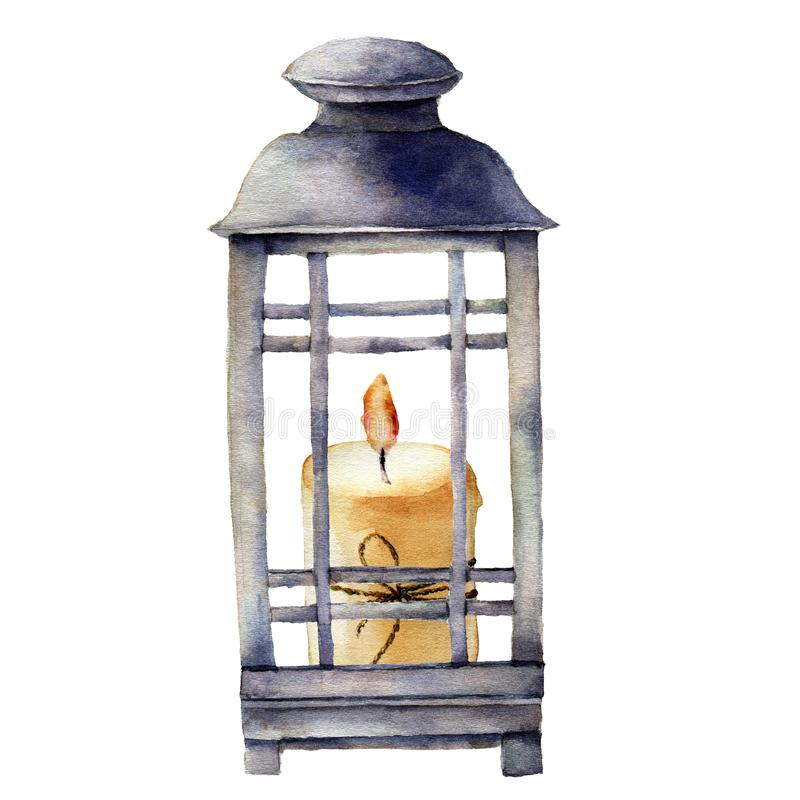 Free Watercolor Christmas Lantern With Candle. Hand Painted Holiday Decor With Bow Isolated On White Background. Christmas Stock Photo - 101132260