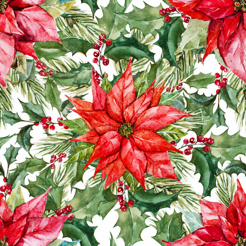Watercolor christmas pattern stock illustration