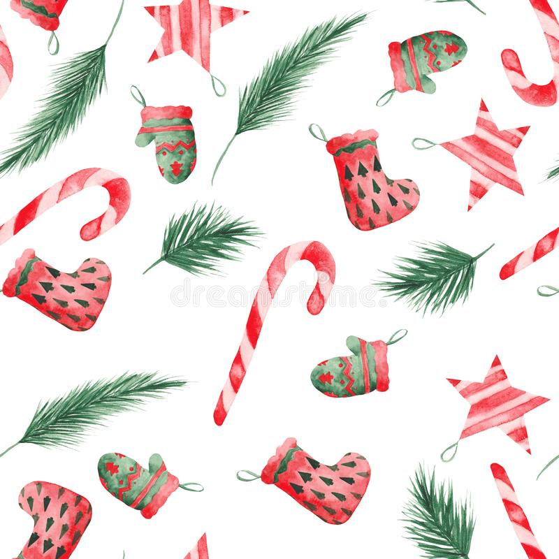 Watercolor Christmas pattern with Christmas tree branches, balls, sweets. Mitten and sock for gifts stock illustration