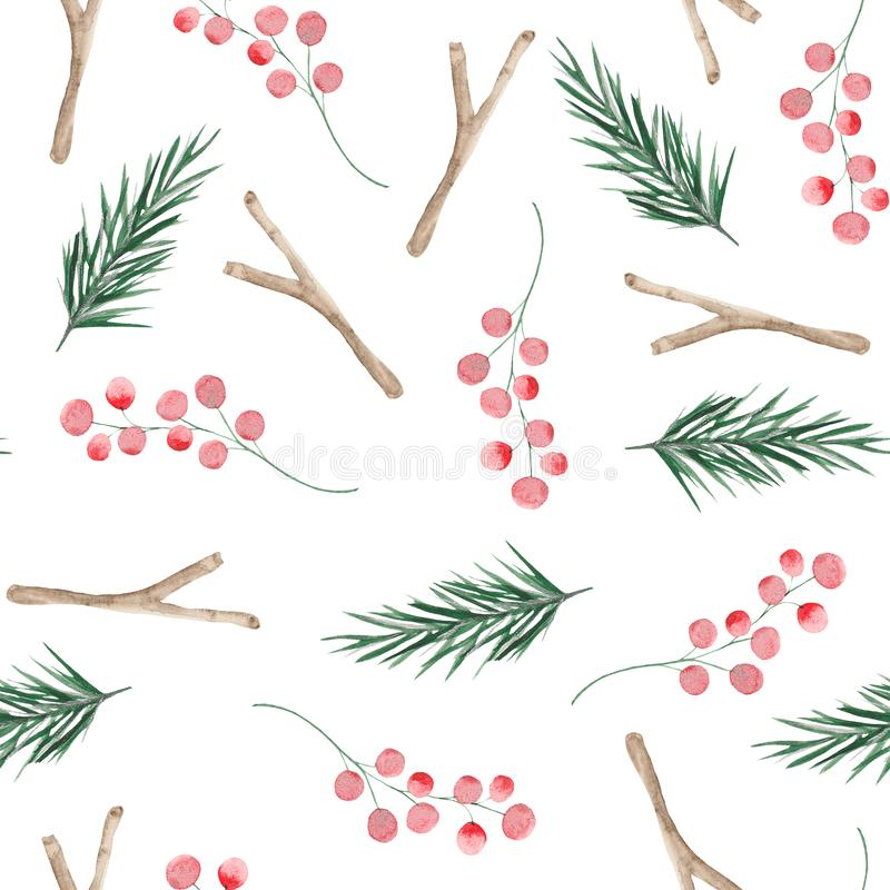Watercolor Christmas pattern with Christmas tree branches, balls. Sweets, mitten and sock for gifts vector illustration
