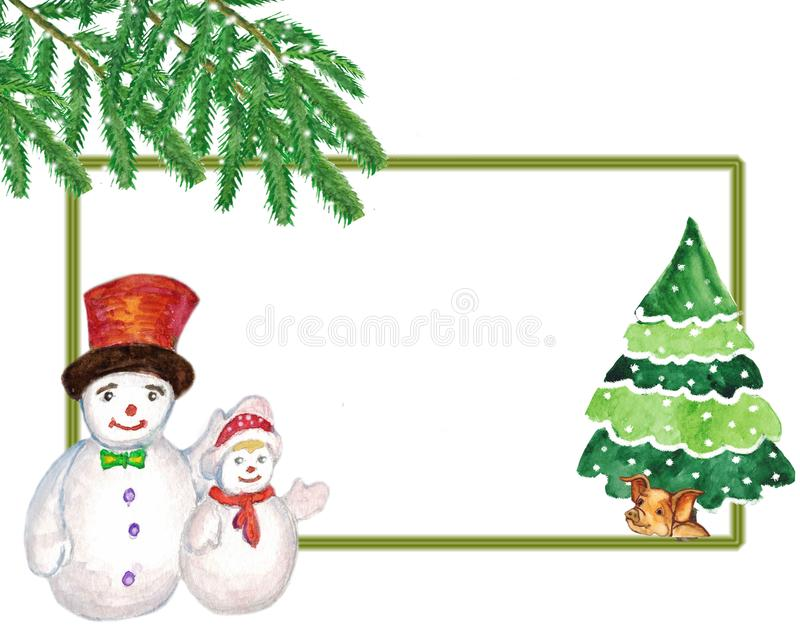 Watercolor. Christmas picture with snowmen, yellow pig under the tree. Illustration for greeting cards and invitations isolated on white background stock illustration