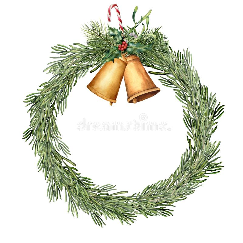 Watercolor Christmas rosemary wreath. Hand painted rosemary branch with bells, holly, mistletoe, candy and christmas stock photo