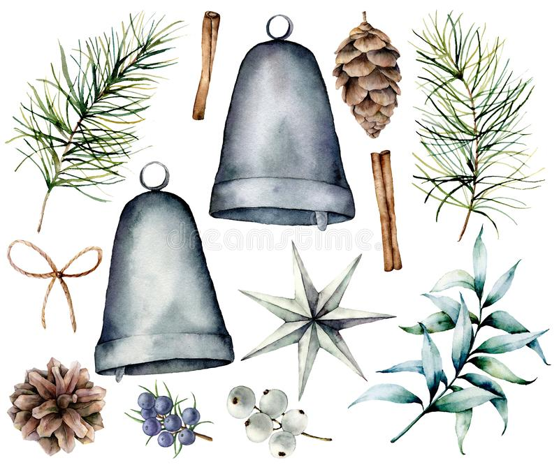 Watercolor Christmas scandinavian decor. Hand painted fir branches and cones, silver bells, star, juniper, snowberry vector illustration