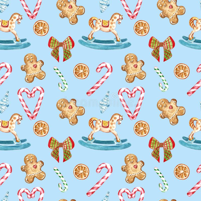 Watercolor Christmas seamless pattern with candy canes, rocking horse ornament, tree decor, ribbon, gingerbread cookies on blue stock illustration