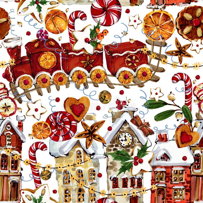 Watercolor Christmas seamless pattern. hand drawn cute winter town royalty free illustration