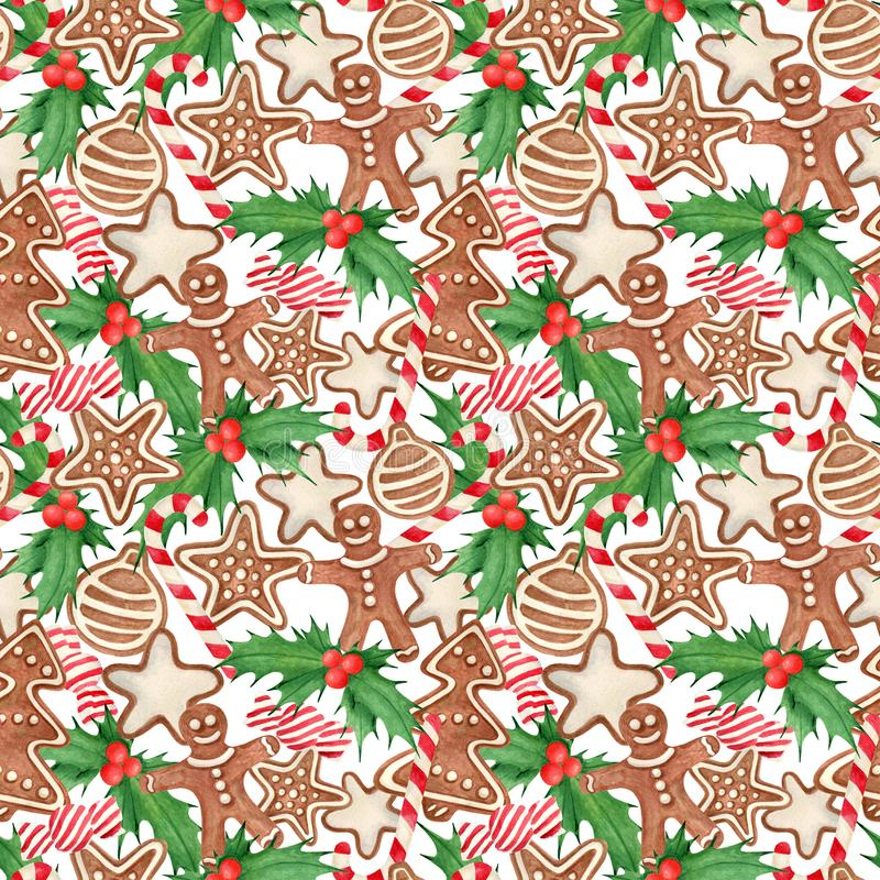 Watercolor Christmas seamless pattern. Hand drawn traditional cookies, gingerbread man, star, tree with icing sugar, holly leaves. And berries, candy cane vector illustration