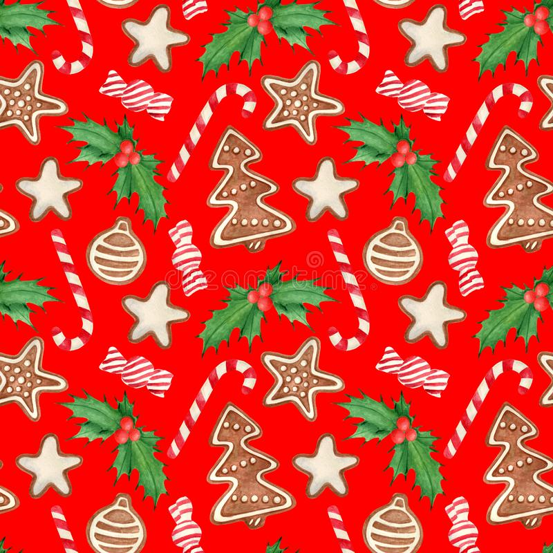 Watercolor Christmas seamless pattern. Hand drawn traditional cookies, gingerbread star, tree with icing sugar, holly leaves and. Berries, candy cane royalty free illustration