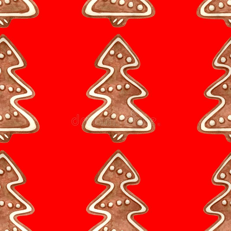 Watercolor Christmas seamless pattern. Hand drawn traditional cookies. Gingerbread tree with icing sugar on red background. Decoration for holiday, greeting royalty free illustration