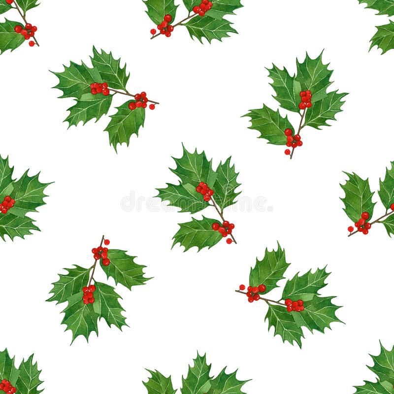 Watercolor christmas seamless pattern with holly berries and leaves.season design for print,textile,wrapping paper. stock illustration