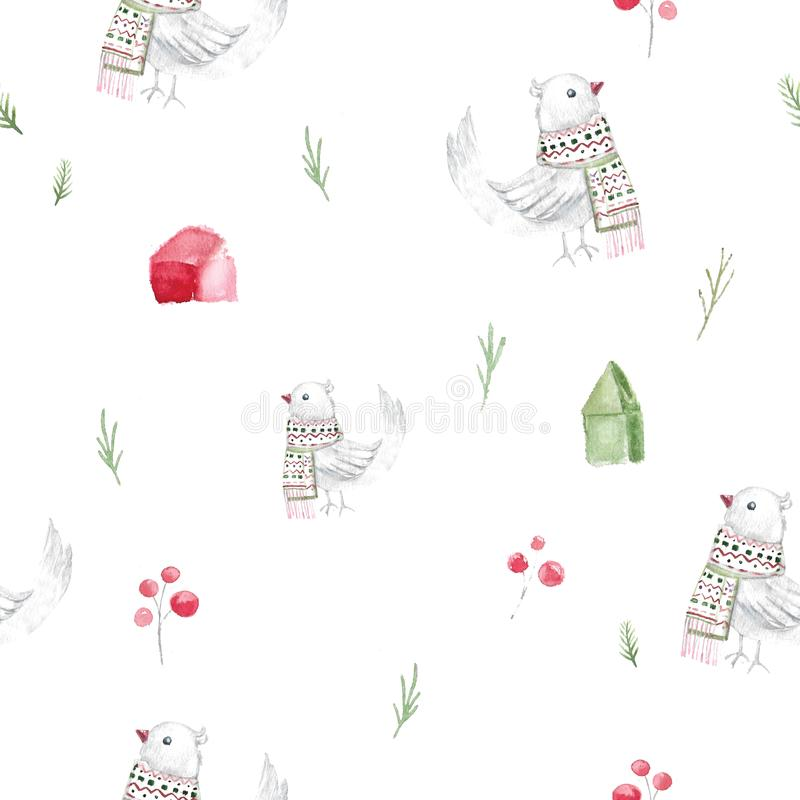 Watercolor christmas seamless pattern with houses and rustic birds in scandinavian style. Cartoon illustration stock illustration