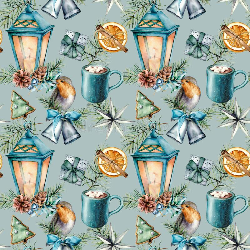 Watercolor Christmas seamless pattern in scandinavian style. Hand painted Blue lantern, cacao cup with marshmallow stock illustration