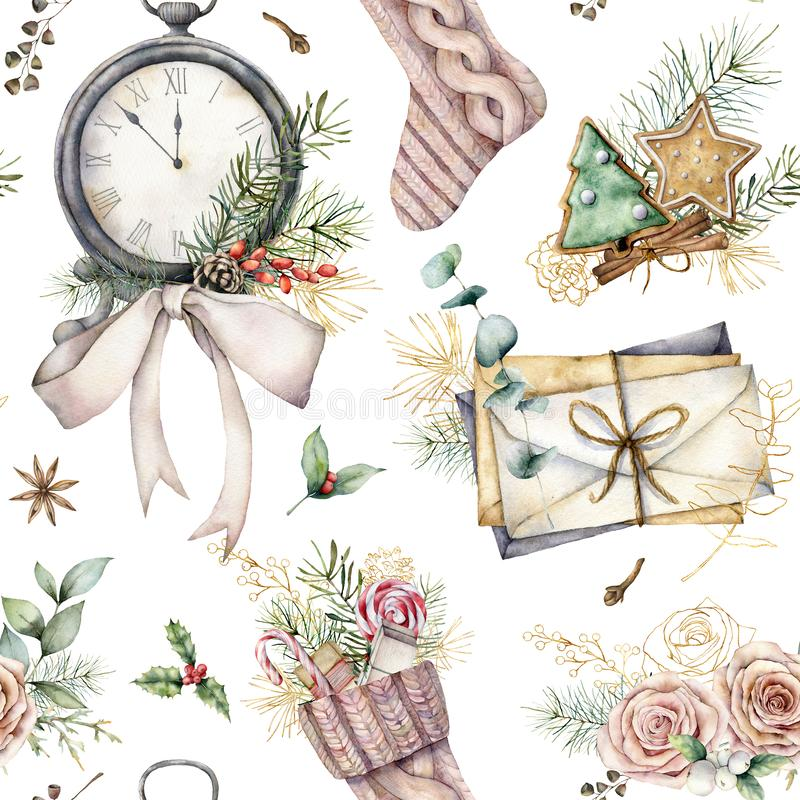 Free Watercolor Christmas Seamless Pattern With Clock And Sock. Hand Painted Fir Branches, Envelopes And Cookies Isolated On Stock Image - 165154301