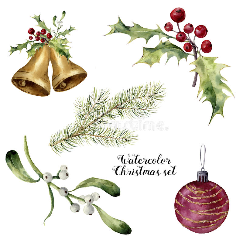 Watercolor christmas set. Hand painted collection with bells, mistletoe, holly, fir branch and christmas ball isolated. On white background. For design or print vector illustration