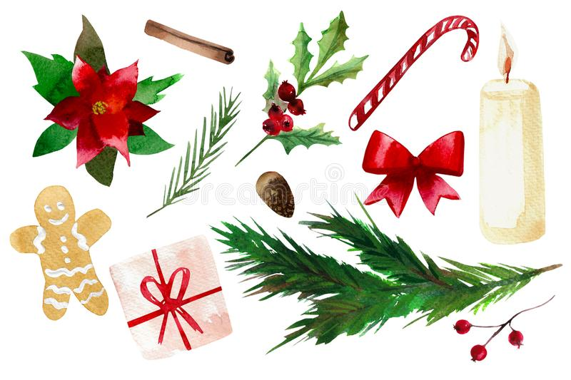 Watercolor Christmas set isolated on white background. stock photo