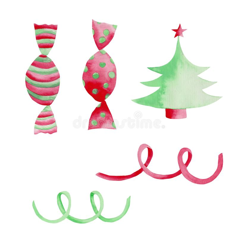 Watercolor Christmas set with pink green serpentine, Christmas tree and sweets. vector illustration