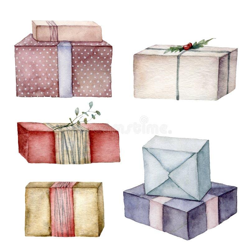 Watercolor Christmas set z pudełkami na prezent Ręcznie pomalowane czerwone, beżowe, niebieskie, paskowe i polka pudełka z kropka zdjęcie royalty free