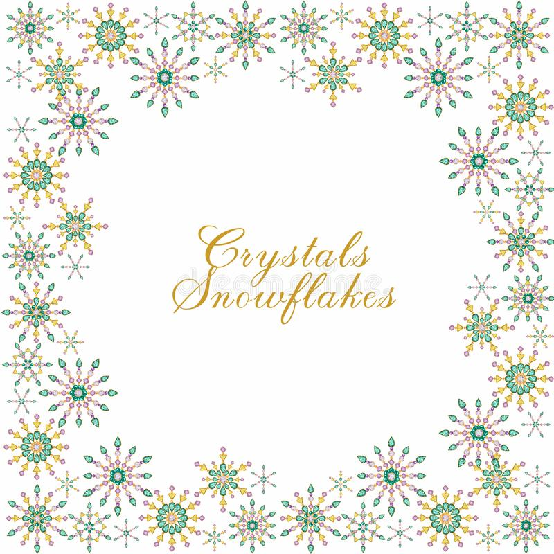 Watercolor Christmas crystal snowflake frame on white background. Beautiful bright colors jewelry decoration. Fashion royalty free illustration