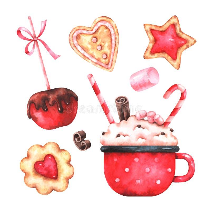 Watercolor Christmas sweet set stock illustration