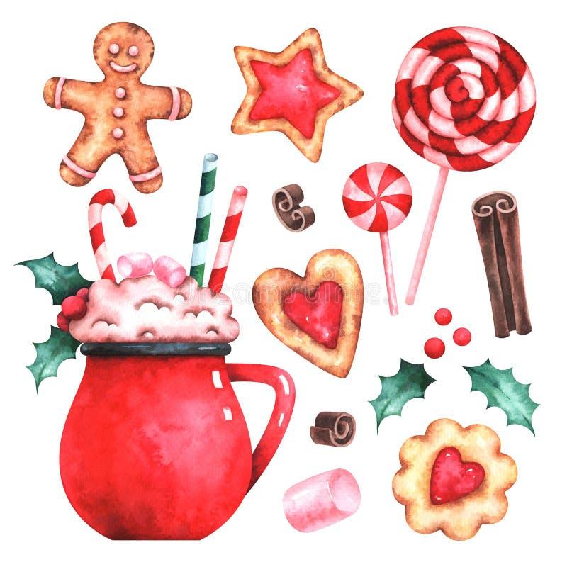 Watercolor Christmas sweets set stock illustration
