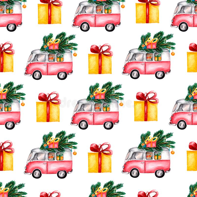 Watercolor Christmas Toy Model bus loaded with sweets, boxes christmas tree, balls. Seamless pattern on white background. royalty free illustration