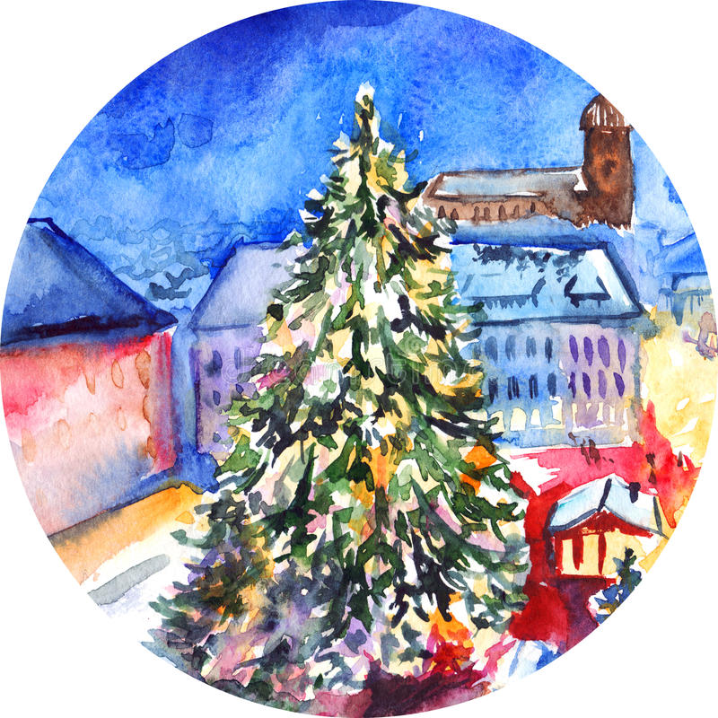Watercolor Christmas tree in city square artwork.  royalty free illustration