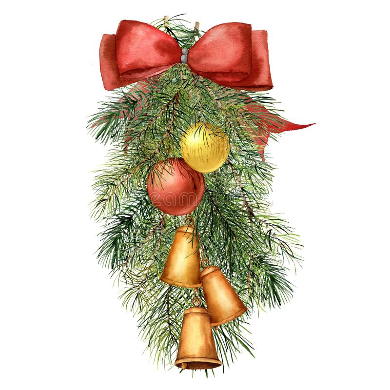 Watercolor Christmas tree composition with decor. Hand painted fir branch with Christmas balls and bells, red ribbon vector illustration