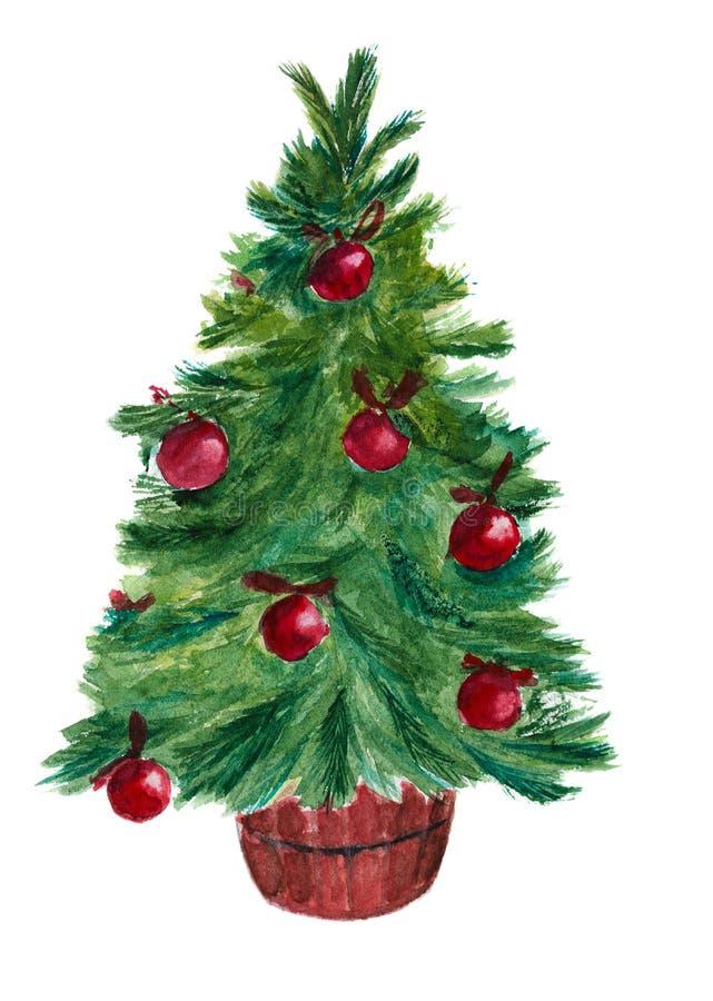 Watercolor christmas tree royalty free stock photos