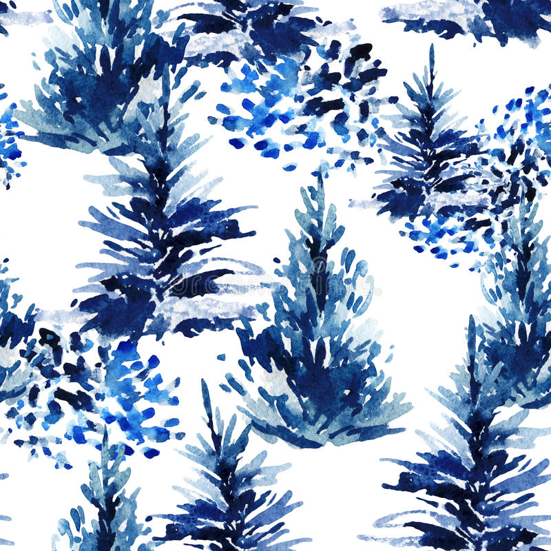 Watercolor christmas tree seamless pattern. royalty free illustration