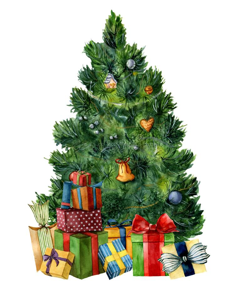 Free Watercolor Christmas Tree With Giftboxes. Hand Painted Pine Tree With Presents, Toys, Bells And Garlands Isolated On Stock Images - 105491144