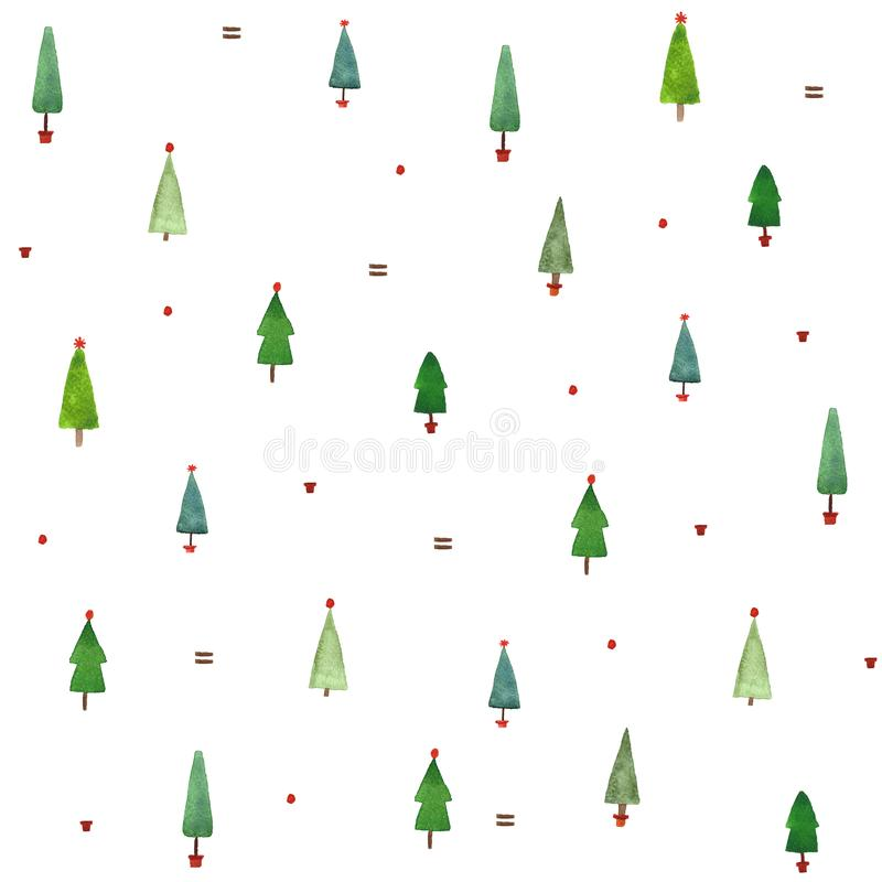 Watercolor christmas trees seamless pattern. Watercolor christmas forest simple minimalistic seamless pattern design for wrapping paper, on white background royalty free illustration