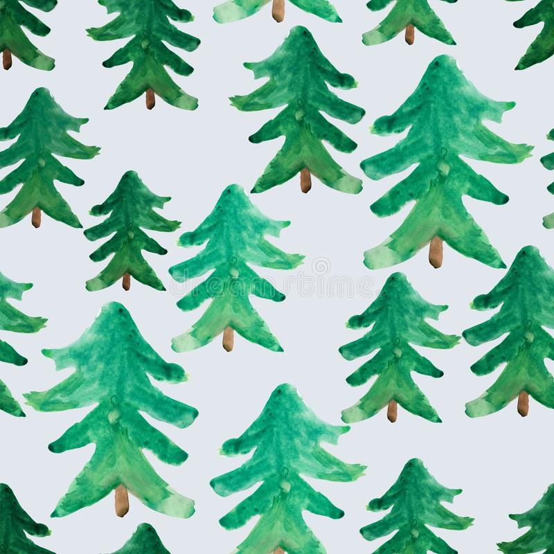 Watercolor Christmas trees seamless pattern. Winter watercolor landscape. Watercolor Christmas tree. Christmas background stock illustration