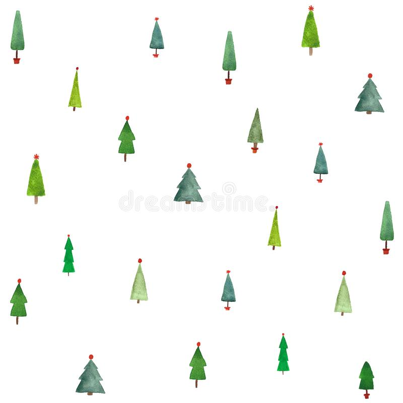Watercolor christmas trees seamless pattern for wrapping paper. Watercolor christmas forest simple minimalistic seamless pattern design for wrapping paper, on vector illustration