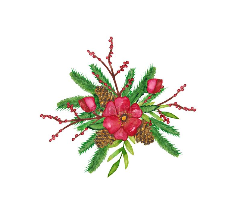 Watercolor.Christmas winter decorative composition with Christmas tree, cones, white flowers, branches with berries and stock illustration