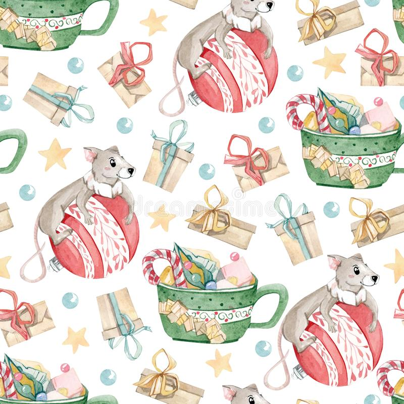 Watercolor of Christmas woodland cute mouse animal character. Seamless pattern of a greeting card, postcard, print t shirt stock illustration