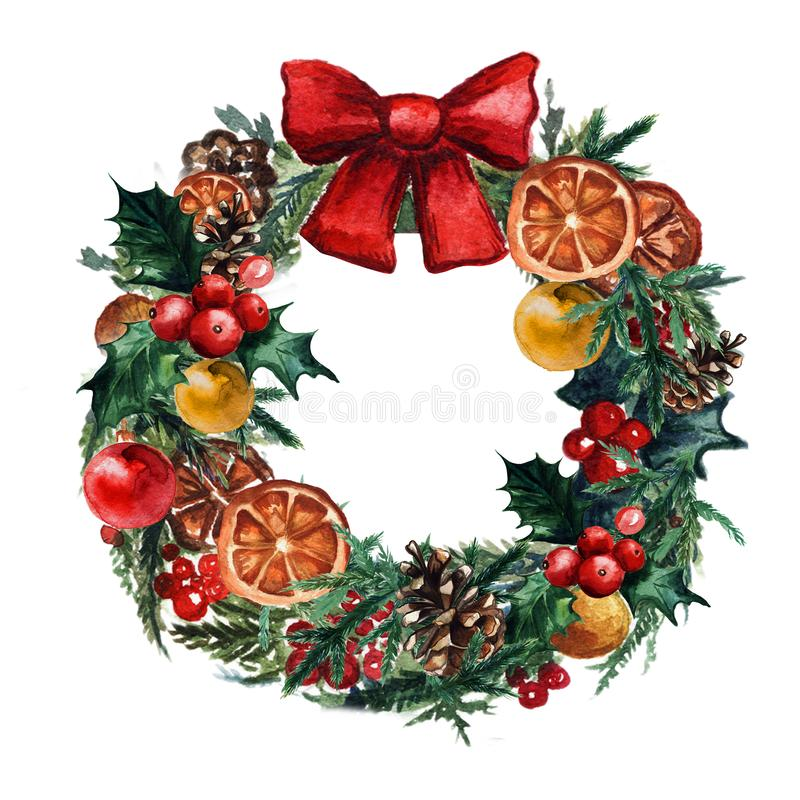 Watercolor Christmas wreath with christmas balls, pinecone misletoe and branches of Christmas trees vector illustration