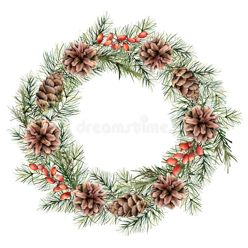 Watercolor Christmas wreath with berries, pine cones and tree branches. Hand painted fir border isolated on white. Background. Floral print design, print or stock illustration