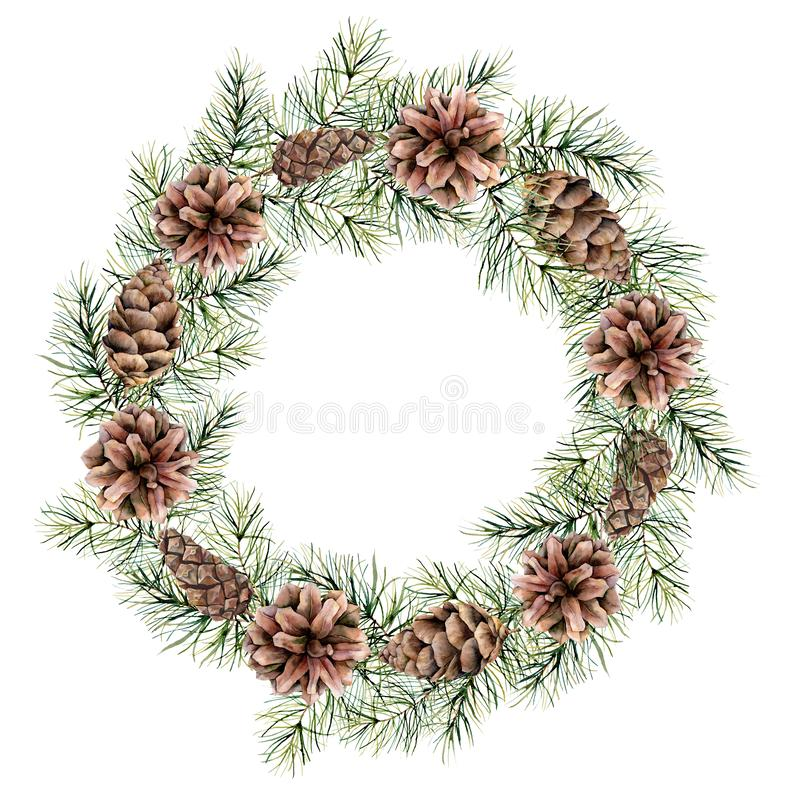 Watercolor Christmas wreath with cones and fir branches. Hand painted fir border isolated on white background. Floral. Print design, print or background vector illustration