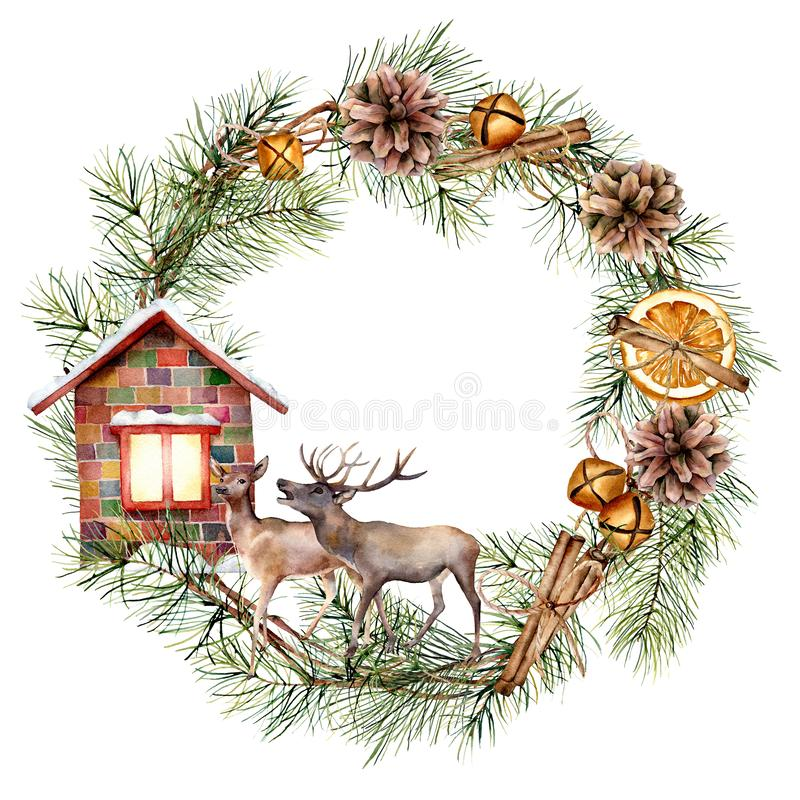 Watercolor Christmas wreath with deers and house. Hand painted fir border with cones, cinnamon, orange slice, bells royalty free illustration