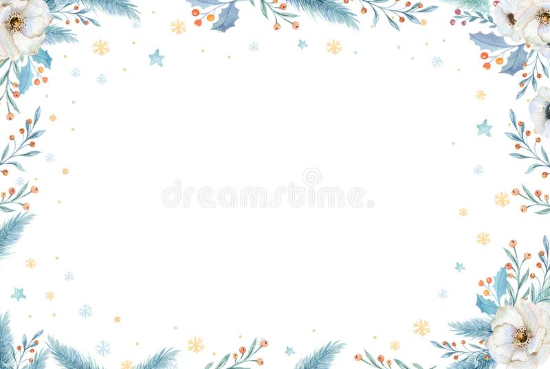 Watercolor Christmas wreath with fir branches and lettering text. New year greeting card and invitations isolated on stock illustration