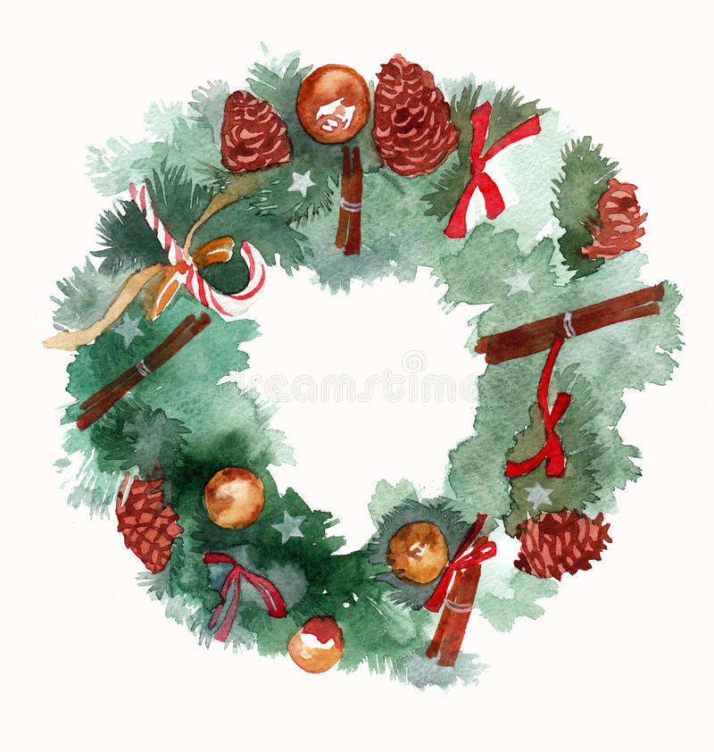 Watercolor Christmas wreath frame isolated on the white background stock illustration