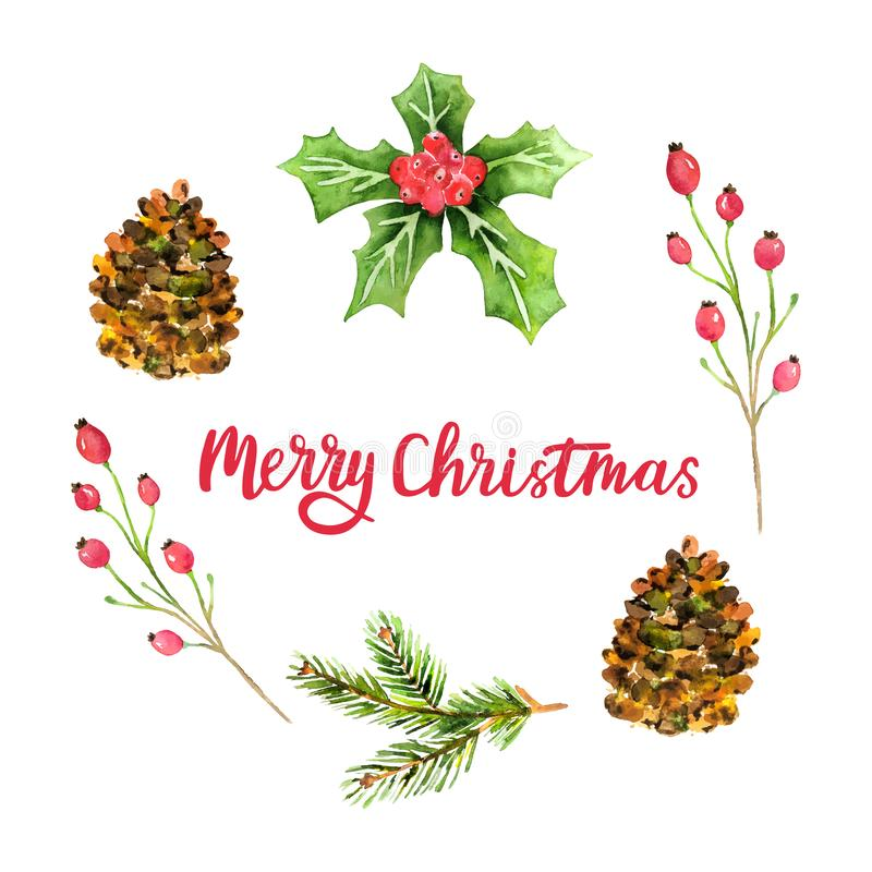 Watercolor Christmas wreath isolated on white background. Merry Christmas card with Holiday design elements and hand lettering. Fl royalty free illustration