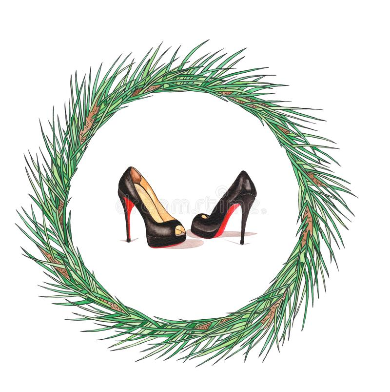 Watercolor Christmas wreath with Louboutin Shoes. New Year card illustration. Holiday design royalty free stock image
