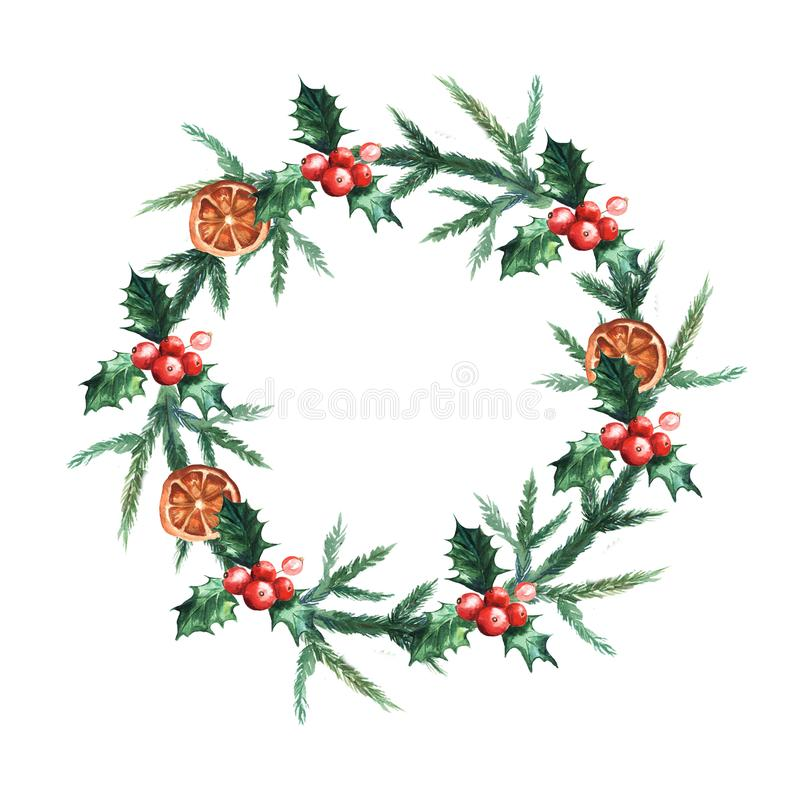 Watercolor Christmas wreath with misletoe, oranges and branches of Christmas trees. royalty free illustration