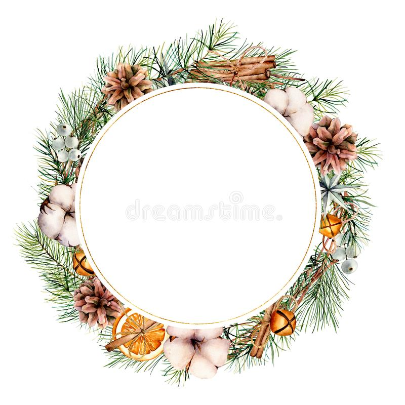 Watercolor Christmas wreath template with decor. Hand painted fir border with cones, cotton, orange slices, bells. Cinnamon sticks isolated on white background royalty free stock photography