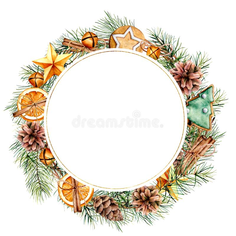 Watercolor Christmas wreath with winter decor. Hand painted fir border with cones, branches, cookies, orange slices. Bells isolated on white background. Floral royalty free stock photography