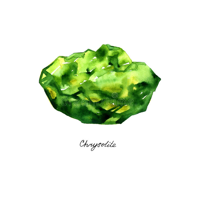 Watercolor chrysolite gem isolated on white background stock illustration