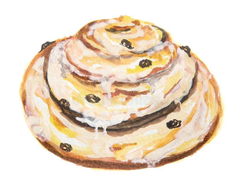 Watercolor cinnamon bun. Pastry art for decoration, cafe or restaurant menu. roll on white background royalty free illustration