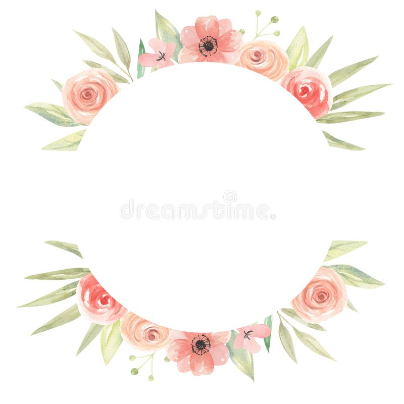 Watercolor Circle Border Flowers Peach Coral Floral Frame Leaves. Watercolor Hand Painted Flowers Spring / Summer Leaves and foliage Frame, perfect for wedding stock illustration